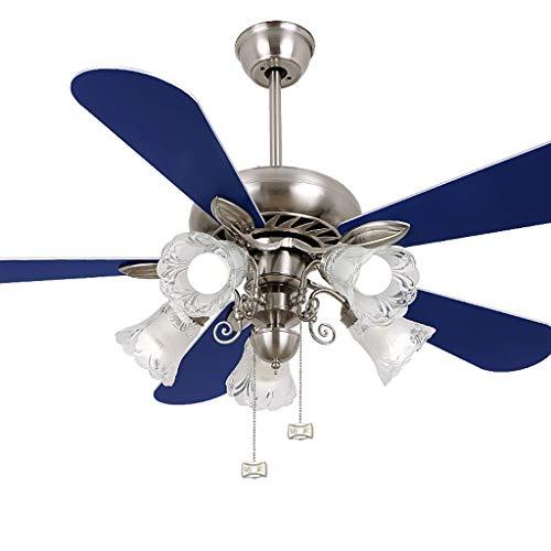 Luz del ventilador Ventilador de Techo 122 cm Ventilador lámpara de Madera Hoja Restaurante Ventilador luz Dormitorio salón Ventilador de Techo luz Azul Claro