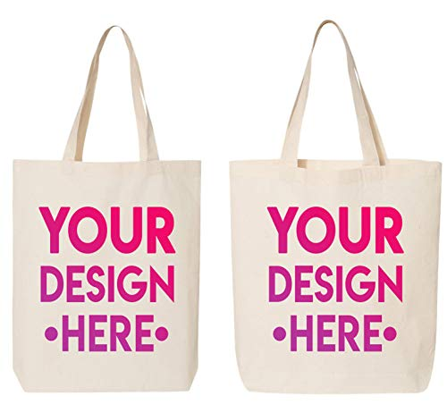 DESIGN YOUR OWN Canvas Tote Bag - Add your Photo Text - Personalized Tote Bag