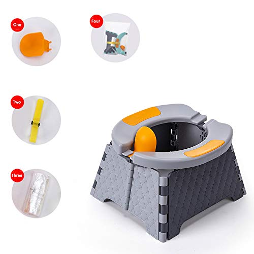 Honboom Portable Potty Training Seat for Toddler | Kids Travel Potty | Foldable Toilet Seat | Baby Potty Seat for Indoor and Outdoor (Gray)