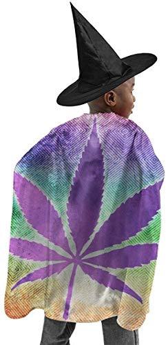 remmber me Marihuana Unkraut Cannabis Pot Leaf Halloween Hexe Set Für Kinder Bunte Wizard Cape Polyester Halloween Hut Mantel Mystic Mantel Anzug Für Cosplay Weihnachten 59x15,8 Zoll
