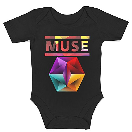LaMAGLIERIA Body Bebè Muse Text Logo - Body Rock 100% Algodon, 0-3 Meses, Negro