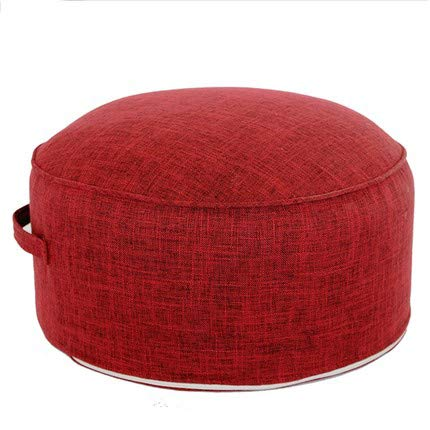 "XMZFQ Floor Sitting Cushion Footstool Janpanese Round Seating Sofa Pouf Foot Leg Rest Step Stool Ottoman Pillow Chair with Handle Design,Diameter 17.7"",Red"