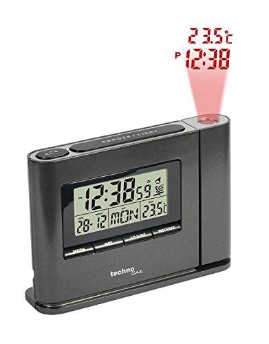 Technoline WT 519 Orologio di proiezione con radiosveglia, Display della Temperatura Interna e datario (Nero con batterie)
