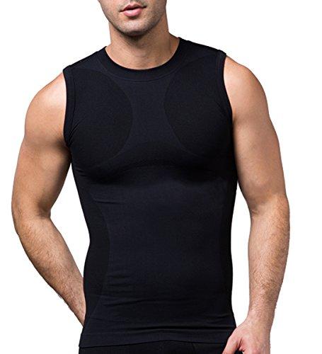SodaCoda Sodacoda Herren Base-Layer Muskel Shirt - Gym Freizeit Tank Top Ärmellos (Schwarz, M)