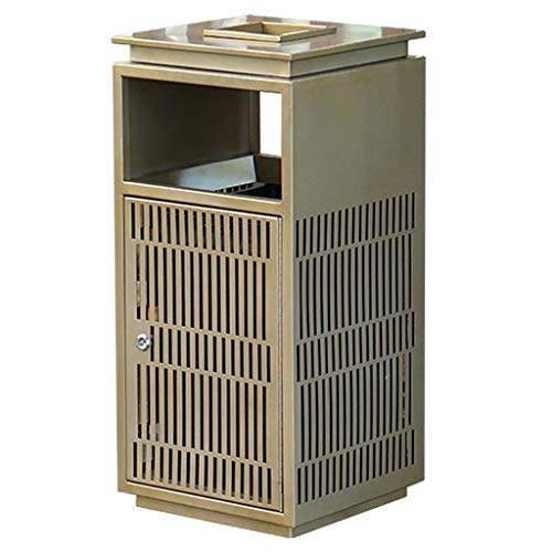 zlw-shop trash can Outdoor Indoor Stainless Steel Trash Can, Grey and Gold, Decorated with Hollow Metal Plates, Stainless Steel Ashtray, Side Open trash can bathroom (Color : Gold)
