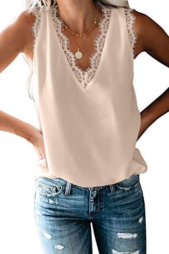 Womens V Neck Lace Strappy Tank Tops Casual Sleeveless Blouse Shirts(Apricot,S)