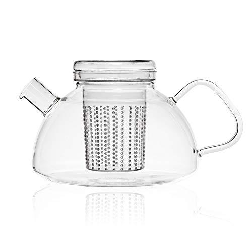 Théière en verre - 1.2L Borosilicate glass teapot with lid and plastic strainer - 6 personnes