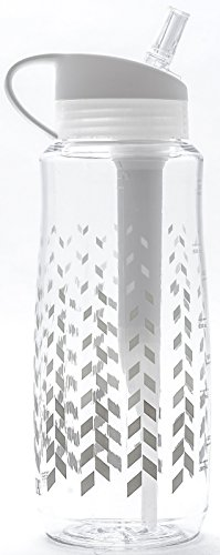 Brita Filtered Hard Sided Water Bottle, 34 Fl.Oz Capacity, Chevron Design
