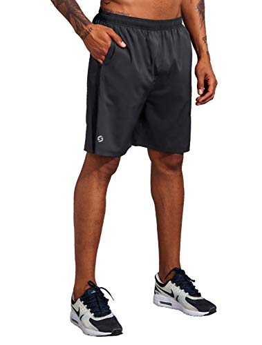 Men's 7 Inch Workout Running Shorts - Quick Dry Lightweight Athletic Gym Training Shorts with Zip Pockets Black