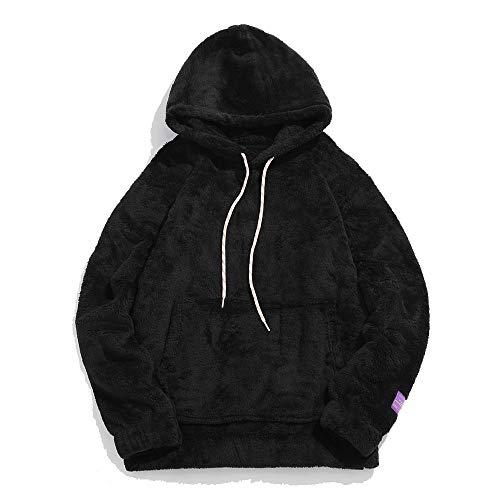 ZAFUL Men's Solid Faux Fur Fluffy Hoodies Pullover Long Sleeve Pouch Splicing Drawstring Hooded Sweatshirt Black