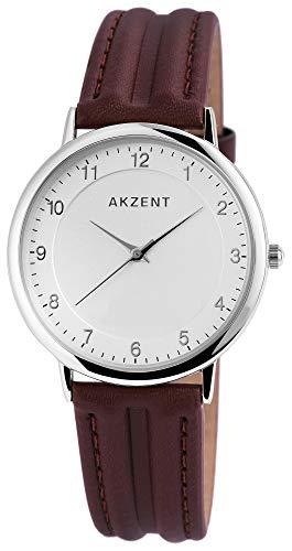 Akzent Herren Analog Quarz Uhr mit Leder Armband SS7221000009