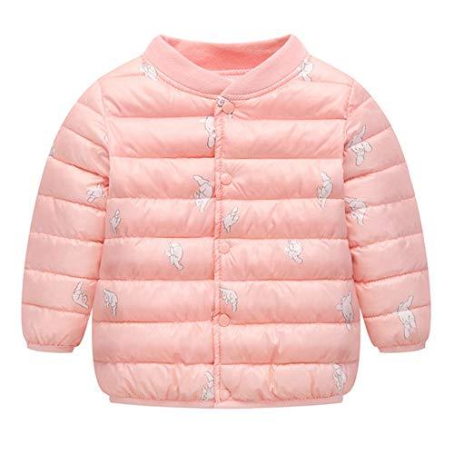 Kobay Kinder Baby Mädchen Jungen Cartoon Kätzchen Katze Drucken Winter Warm Daunenmantel Mantel Jacke(12-18M,Rosa)