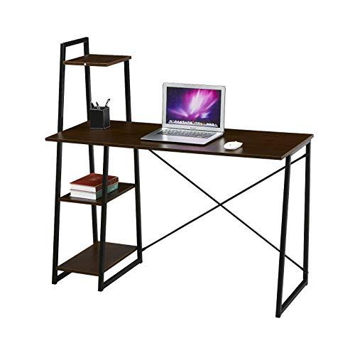 SVITA Combo1 Regal-Schreibtisch Nussbaum-Optik Schwarze Metall-Beine Computertisch Bürotisch Arbeitstisch PC Tisch