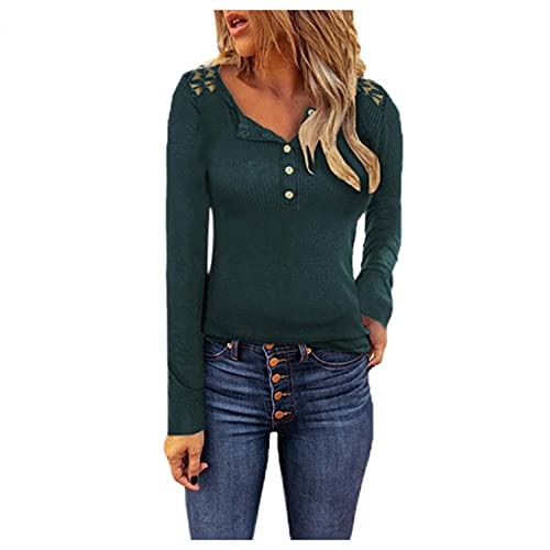 T-Shirt Donna Manica Lunga con Scollo a V con Bottoni Blusa Top Henley Magliette Stampa Camicetta Causale Camicette Allentato Maglietta Elegante Maglia