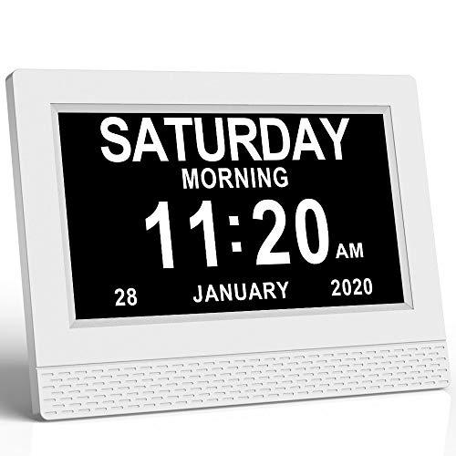 """SENXINGYAN Digital Calendar Day Clock, 7""""Digital Memory Loss Wecker mit digitalem Fotorahmen, extra großer, Nicht abgekürzter Tag und Monat für Senioren Sehbehinderte Blinde ältere Menschen Alzheimer"""