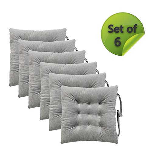 Comfy Soft Chair Pads Seat Cushions Cover with Ties for Dining Chairs, Office Chairs, Sofa Patio Furniture Carpeted Floors, Hardwood Floors, 100% Polyester Cover Chair Cushions (6, Light Gray)