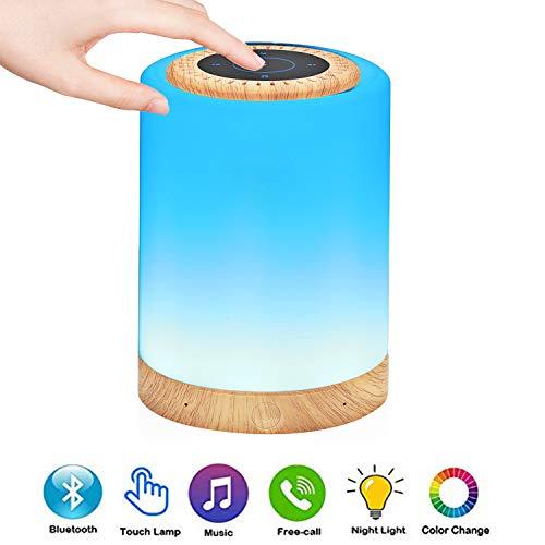 Lámpara de Altavoz Bluetooth, Lámpara de Mesita de Noche con Cambio de Color, Luz Nocturna LED para Niños con Control Táctil USB Recargable, Mini luces de Discoteca de Ritmo de Música