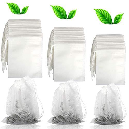 cersaty® 300 Packs Teebeutel zum Selbstbefüllen Einweg Teabag mit Kordelzug,Teefilter für Losen Tee,Weiß Tea Bags(5.5×7cm,7cm×9cm,8cm×10cm,Jeweils Einhundert)