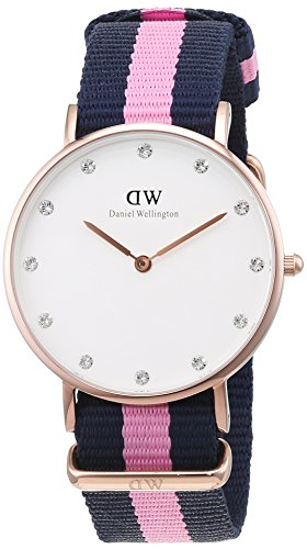 Daniel Wellington Damen Analog Quarz Uhr mit Nylon Armband DW00100077