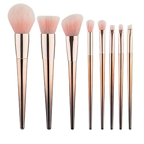 Pinceau De Maquillage Set 8 Pièces Pink Brossés Outils De Beauté Manche Conique Gradient D'or Pinceaux De Maquillage,D'or