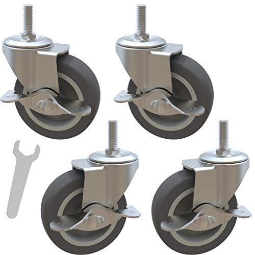 MySit Caster Wheels, Stem Casters Set of 4, 3 Inch 3/8'-16x1' Threaded Stem Mount Industrial Castors, Heavy Duty Rubber Locking Brake Swivel Wheel Replacement for Carts Dolly Workbench Trolley