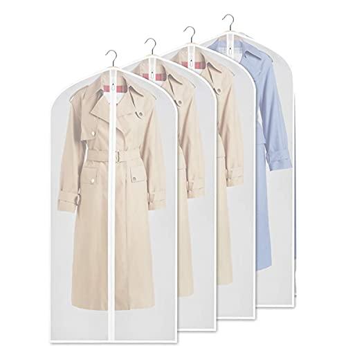 TIANHOO 4 Stück Kleidersack Anzug Lange,Transparent Kleiderhülle mit Reißverschluss, Staubdicht, Mottensicher, Faltbar Waschbar, für Aufbewahrung Anzug, Kleid, Daunenjacke(XL-60x120cm)