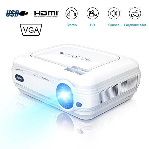 LESHP Proyector 3200 lúmenes LCD Mini Proyector portátil LED Proyector Cine en casa Theater película proyector de vídeo Soporte Multimedia HDMI USB para cine en casa Entretenimiento Juegos (Blanco)