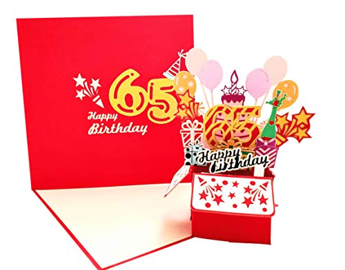 iGifts And Cards Happy 65th Red Birthday Party Box 3D Pop Up Greeting Card – Sixty-Five, Awesome, Balloons, Unique, Celebration, Feliz Cumpleaños, Fun