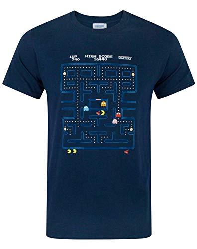 Camiseta Pacman para Hombre, clásica Escena de acción, Adultos, Azul