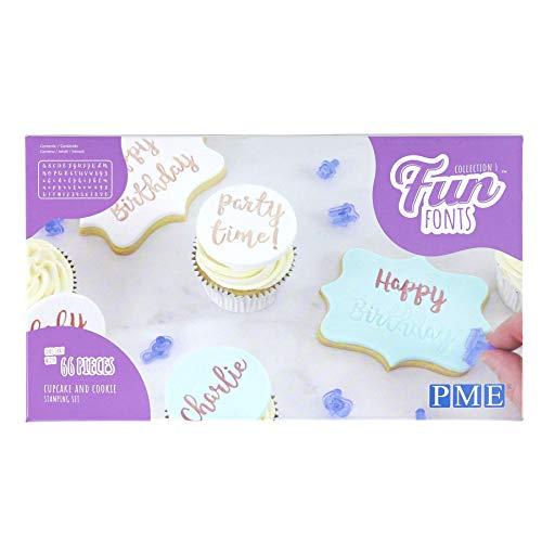 PME Collection 1 Fun Fonts-Set di stampaggio per Cupcake e Biscotti, Collezione 1