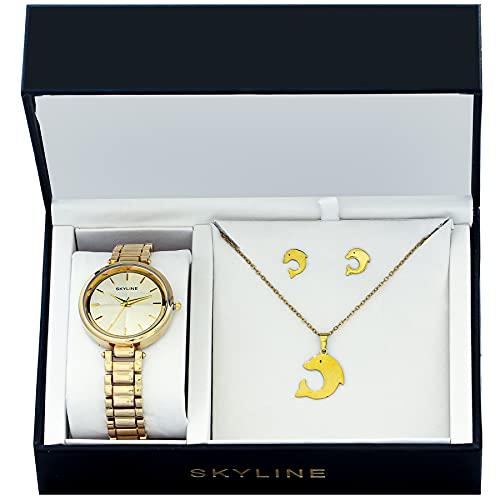 SKYLINE, Conjunto de Accesorios para Mujer, Reloj de Pulsera, Collar y Pendientes con Diseño de Delfín, Acero Inoxidable, Cumpleaños, Aniversario, etc, Dorado