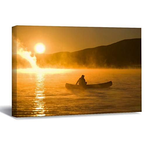 Canoeing In Lily Bay at Sunrise, Moosehead Lake Canvas Picture Painting Artwork Wall Art Poto Framed Canvas Prints for Bedroom Living Room Home Decoration, Ready to Hanging 8'x12'