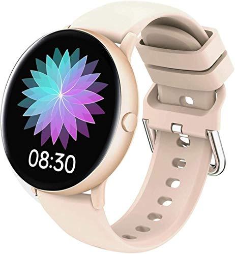 JSL Reloj inteligente deportivo para hombre de las mujeres 1.09 pulgadas redondo táctil HD pantalla a color IP67 impermeable Bluetooth Fitness Tracker Watch-oro