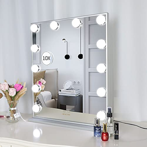 WONSTART Vanity Mirror with Lights, Hollywood Lighted Makeup Mirror with 10X Magnification, Tabletop or Wall Mounted LED Mirror