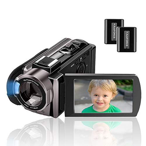 Camcorder Kenuo Full HD Videokamera 1080P 24MP 30PFS Digitalkamera für YouTube 16X Digitalzoom 3.0 '' LCD 270 Grad Drehbildschirm mit 2 Batterien
