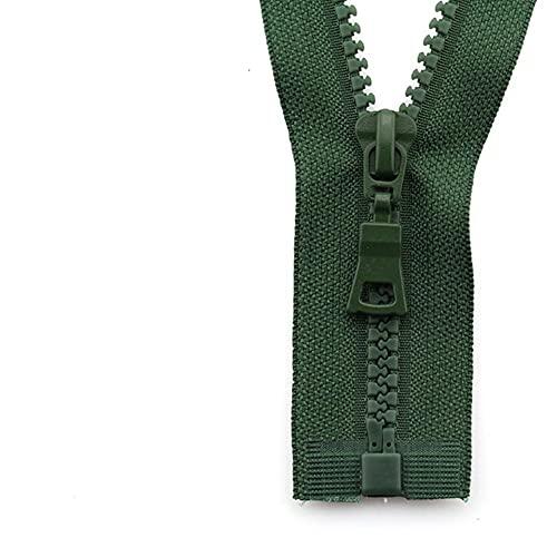5# 3pcs 30/40/55/60/70/80/90cm Open-end auto Lock colorido plástico resina cremallera para ropa ropa verde ejército, 5#, 55cm