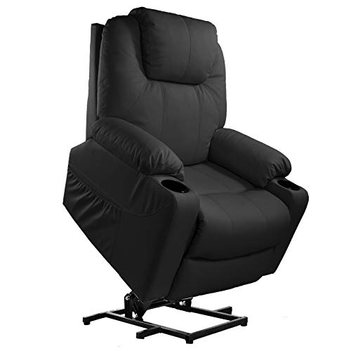 Furgle Power Lift Recliner Chair with Massage Vibration Elderly Massage Recliner TUV Certified Living Room Lounge Sofa Faux Leather with 2 Remotes, Side Pockets and Cup Holders - Black