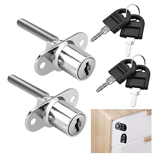 UTRUGAN 2 cerraduras para cajones de oficina con llave, para armarios de oficina, archivadores, armarios, cerradura de 16 mm, longitud total de 61 mm (plateado)