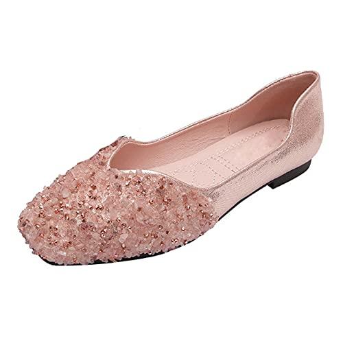 Zapatos Bailarinas Planos Mujer Invitada Boda Cómodas Elegantes Ballet Plana,Rosado,43 EU