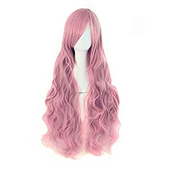 MapofBeauty 32  80cm Long Hair Spiral Curly Cosplay Costume Wig  Pink