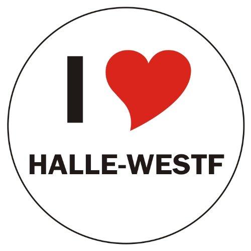 I Love HALLE-WESTF Handyaufkleber Handyskin 50x50 mm rund