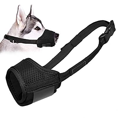 Dog Muzzle Anti Biting Barking and Chewing, with Comfortable Mesh Soft Fabric and Adjustable Strap, Suitable for Small, Medium and Large Dogs (XS, Black)