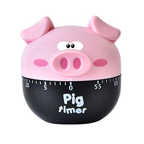 xMxDESiZ Karikatur-Schwein-geformte Küche, die Timer Countdown-Maschinerie-Wecker kocht Rosa