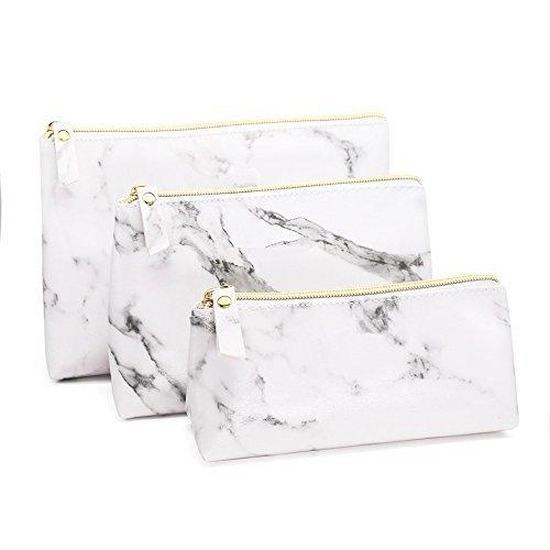Joyful 3PCS White Marble Cosmetic Bag Set Women Casual Makeup Pouch Toiletry Organizer Case Pouch Storage Makeup Brushes Bag