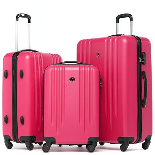 FERGÉ Kofferset mit Trolley Marseille Hartschale 3er Set - Handgepäck 55 cm, L und XL Reisekoffer 4 Rollen pink