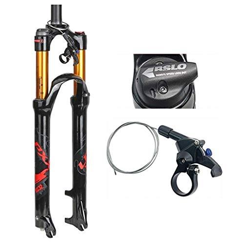 WYJW Horquilla de suspensión para Bicicleta de montaña, aleación de Aluminio, Tubo Recto de 1-1/8', Control de Hombro, Freno de Disco, Ajuste de Rebote: 100 mm, A-29 Pulgadas