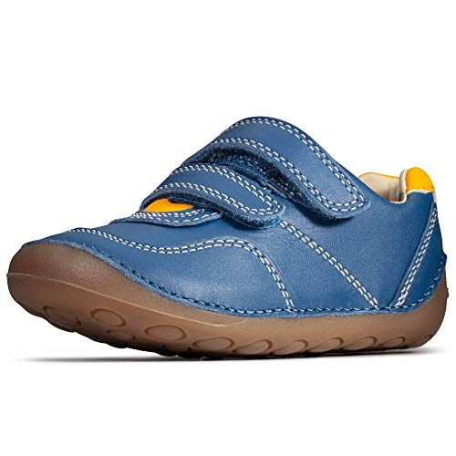 Clarks Tiny Dusk Toddler Blue Leather Childrens Rip Tape Pre Walker Shoes 4½ F