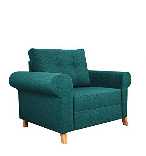 Nowak MebLiebe Oslo Skandinavisch Sessel | mit Armlehnen | H105 x L90 x B93 cm | Ohrensessel mit gepolsterte Rückenlehne | Rahmen aus Buchenholz