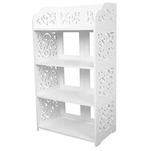 Ejoyous Zapatero Multifuncional de 4 Capas, Estante para Libros,Exhibición de CD, Blanco Tallado Gabinete Estrecho para Dormitorio Baño Sala de Estar Estante 40 * 23 * 71 cm