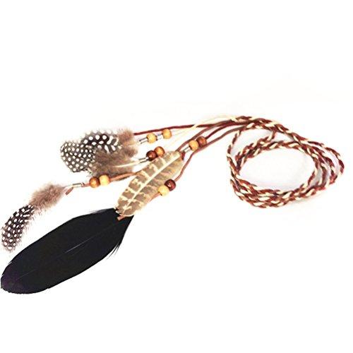 Beau bandeau en plumes de paon indien rétro pour fête déguisée